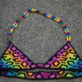 Rainbow Leopard Print Bikini Top