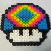 Mario Rainbow Mushroom Perler