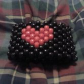 Black With Red Heart Kandi Cuff