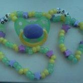 Green Yellow Purple Binkie Necklace