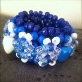 Blue&White Heart 3D Cuff