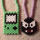 Gameboy Color & Gastly (Peyote Stitch Necklaces)