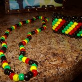 Matching Rasta Cuff And Necklace
