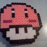 Kirby/Mushroom Perler Bead Hair Clip