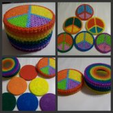 Rainbow Peace Sign Coasters & Container