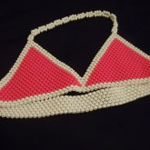 Pink And White Kandi Bra