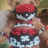 Pokeball Themed Kandi For My Bear :D