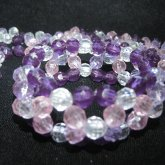 Faceted Bead Pink Purple N Clear X-Cuff