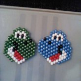 Green And Light Blue Yoshi Heads