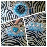 Blue Heart Pendant 3D Cuff