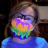 Rainbow drip Kandi Mask i made XD