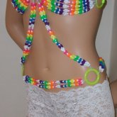 Sexy Rainbow Butterfly Bikini Top With Belt