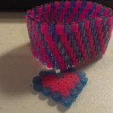 Blue And Purple Perler Bead Bracelet With Heart Charm