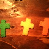 Orange Yellow And Green Perlerbead Crosses