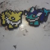 8bit Joleon And Vaporeon Fuse Bead Magnets