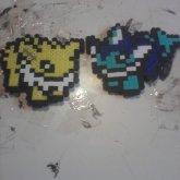 8bit Joleon And Vaporeon Fuse Bead Magnets