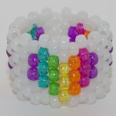 Glow In The Dark Rainbow Heart Cuff