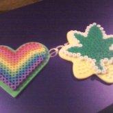 Perler Bead Pot Leaf And Pride Heart