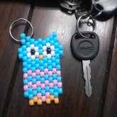 Blue And Pink Owl Key Chain C: