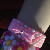 Pink White Diagonal Cuff With A Bow :3