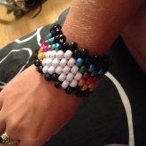 White And Dark Pearl Rainbow Heart Cuff