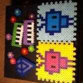 My Perler Bead Creations// Robots/ Flowers /diamond/pianos