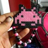 Pink & Black Space Invader Perler Kandi Single