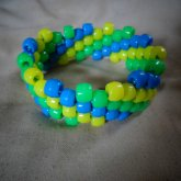 Blue, Green, And Yellow Diagonal Cuff.