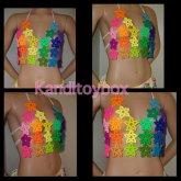 Sexy Rainbow Kandi Star Crop Top
