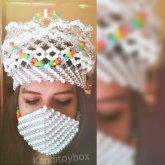 White And Rainbow Kandi Crown
