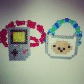 Finn (Adventure Time) & Nintendo Gameboy Perler Mini Cuffs