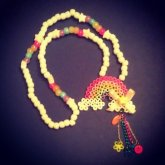 Rainbow Perler Necklace With Dangle Charms And Bow