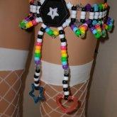 Rainbow Button Kandi Garter