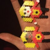 Perlerbead Girls Wearing Flower Shirts