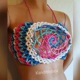 Cotton Candy Spiral Mandala Kandi Bra