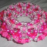Clear Pink 3D Kandi Cuff