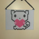 Kitty Poster With Black Lace And Pink Glow In The Dark Heart <3
