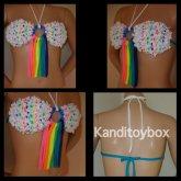 White And Rainbow Kandi Bra