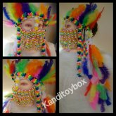 Rainbow Headdress With Kandi Mask
