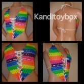 Sexy Rainbow Lace Up Rave Top
