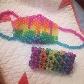 Matching Rainbow Mask & X Base Cuff