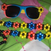 Sunglasses With Kandi Flowers On The Sides And Matching Kandi Headband :)
