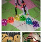 Black,White, And Rainbow Pacman Neckalace