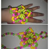 Pink Yellow And Green Star Bracelet Thing :3