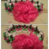 Black,pink,green And White X Base Cuff W Flower