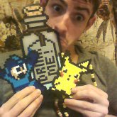 Drink Me Pikachu And Mega Man Perler Necklaces