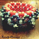 Black And Coral Belled Cuff