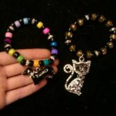 Cat And Sausage Dog Singles With Crystal Beads