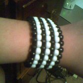 Black And White Striped Peyote Bracelet