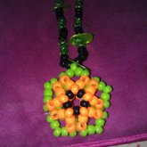 Green,black,and Orange 3D Star Necklace Whith Monster Caps